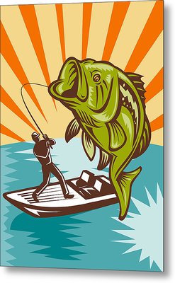 Largemouth Bass Fish And Fly Fisherman Metal Print by Aloysius Patrimonio