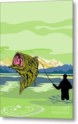 Largemouth Bass Fish Jumping Metal Print by Aloysius Patrimonio
