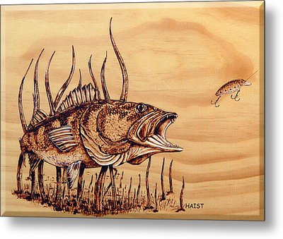 Metal Print featuring the pyrography Largemouth Bass by Ron Haist