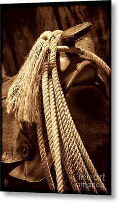 Lariat On A Saddle Metal Print by American West Legend By Olivier Le Queinec