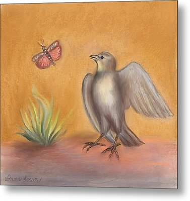Lark And Grasshopper Teen Drawing Metal Print by Dawn Senior-Trask