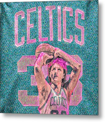 Larry Bird Boston Celtics Digital Painting Pink Metal Print by David Haskett