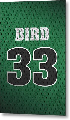 Larry Bird Boston Celtics Retro Vintage Jersey Closeup Graphic Design Metal Print by Design Turnpike