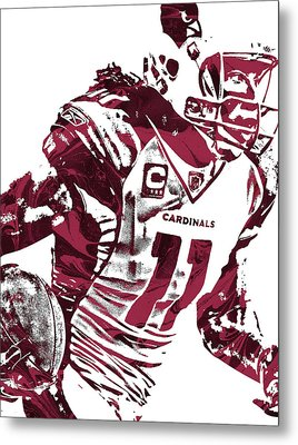 Metal Print featuring the mixed media Larry Fitzgerald Arizona Cardinals Pixel Art 1 by Joe Hamilton