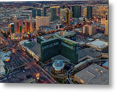 Metal Print featuring the photograph Las Vegas Nv Strip Aerial by Susan Candelario