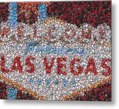 Las Vegas Sign Poker Chip Mosaic Metal Print by Paul Van Scott