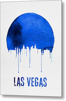 Las Vegas Skyline Blue Metal Print by Naxart Studio