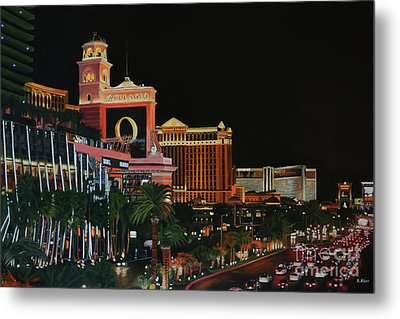 Las Vegas Strip Oil On Canvas Painting Metal Print