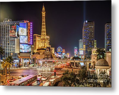 Las Vegas Strip Paris Metal Print