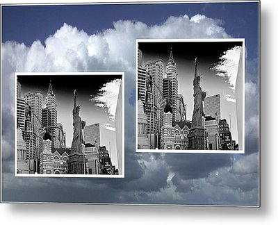 Metal Print featuring the painting Las Vegas,new York by Athala Carole Bruckner