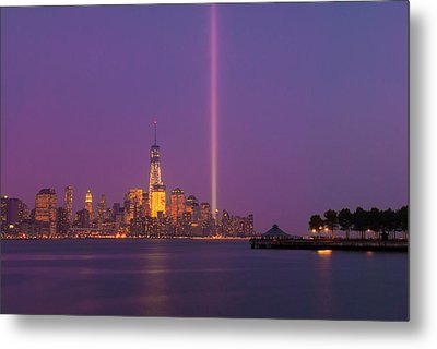 Laser Twin Towers In New York City Metal Print by Ranjay Mitra