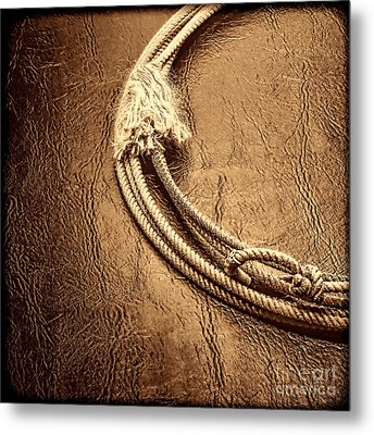 Lasso On Leather Metal Print by American West Legend By Olivier Le Queinec