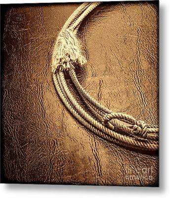Lasso On Leather Metal Print