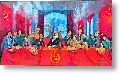 Last Communist Supper 10 Colorful - Da Metal Print