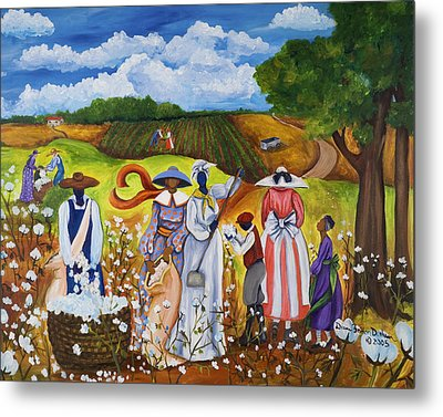 Metal Print featuring the painting Last Cotton Field by Diane Britton Dunham