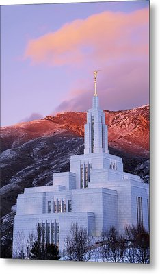 Last Light At Draper Temple Metal Print by Chad Dutson