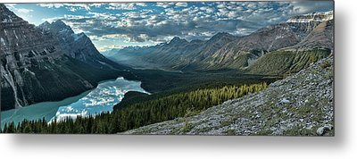 Last Rays Of Light Over Peyto Lake Metal Print
