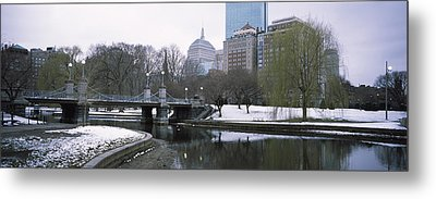 Last Snow Of The Season, Boston Public Metal Print by Panoramic Images