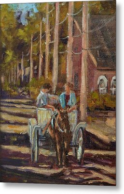 Late Afternoon Carriage Ride Metal Print by Charles Schaefer