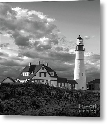 Late Afternoon Clouds, Portland Head Light  -98461-sq Metal Print