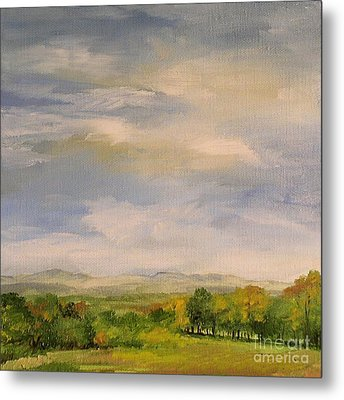 Metal Print featuring the painting  Late Afternoon In Vermont  by Laurie Rohner