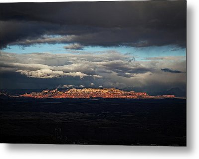 Metal Print featuring the photograph Late Light On Red Rocks With Storm Clouds by Ron Chilston