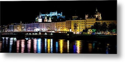 Metal Print featuring the photograph Late Night Stroll In Salzburg by David Morefield