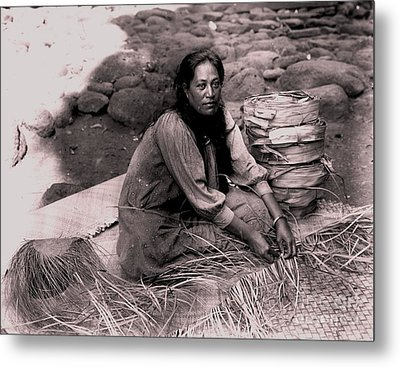Lauhala Weaver Metal Print by Pg Reproductions