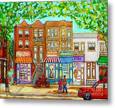 Laurier Street Circa 1960 Montreal Memories Vintage Store Fronts Apartments Family Life Canadian Art Metal Print by Carole Spandau