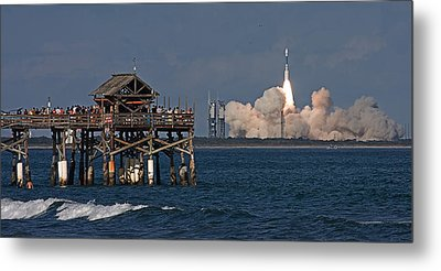 Launch Beyond The Pier Metal Print by Ron Dubin