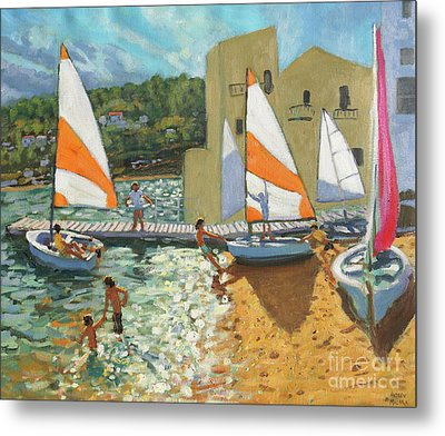 Launching Boats, Calella De Palafrugell, Spain Metal Print by Andrew Macara