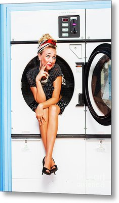 Laundromat Pin-up Portrait Metal Print by Jorgo Photography - Wall Art Gallery