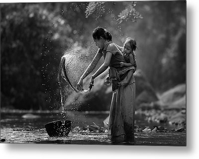Laundry Metal Print by Asit