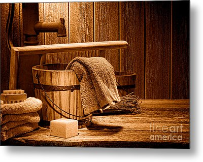 Laundry At The Ranch - Sepia Metal Print by Olivier Le Queinec