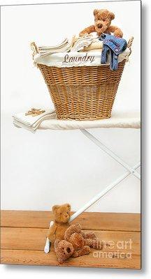 Laundry Basket With Teddy Bears On Floor Metal Print by Sandra Cunningham