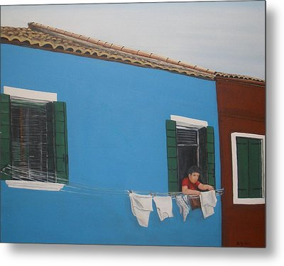 Metal Print featuring the painting Laundry Day by Betty-Anne McDonald