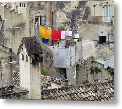 Laundry Day In Matera.italy Metal Print