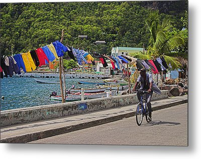 Metal Print featuring the photograph Laundry Drying- St Lucia. by Chester Williams