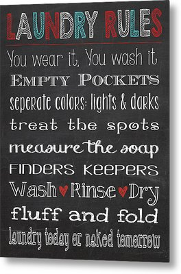 Laundry Room Rules Chalkboard Sign Metal Print by Jaime Friedman