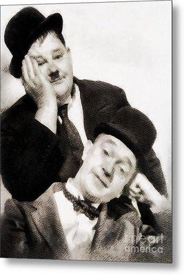 Laurel And Hardy, Vintage Comedians Metal Print