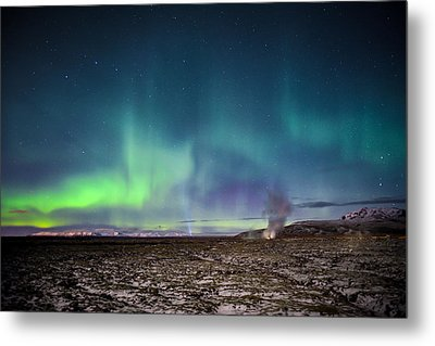 Lava And Light - Aurora Over Iceland Metal Print