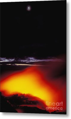 Lava And Moon Metal Print by William Waterfall - Printscapes