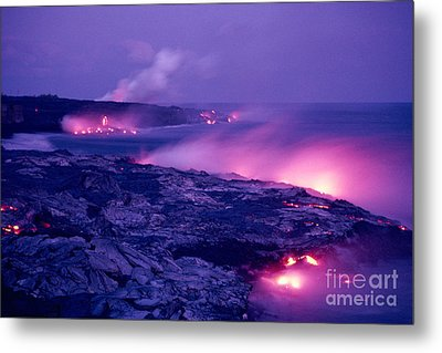 Lava Flows To The Sea Metal Print by Mary Van de Ven - Printscapes