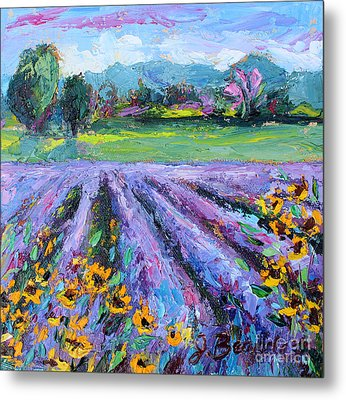 Lavender And Sunflowers In Bloom Metal Print