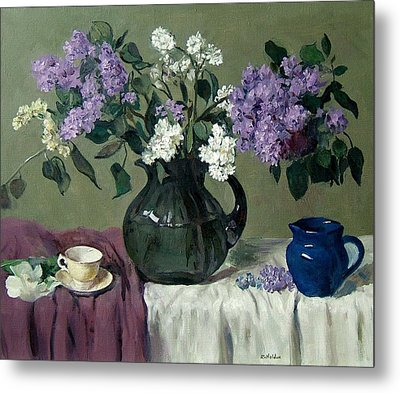 Lavender And White Lilacs With Blue Creamer And Teacup Metal Print
