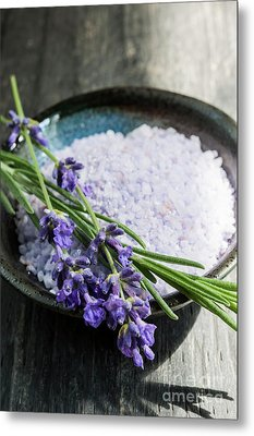 Metal Print featuring the photograph Lavender Bath Salts In Dish by Elena Elisseeva