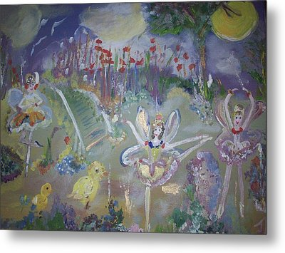 Metal Print featuring the painting Lavender Fairies by Judith Desrosiers
