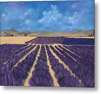 Metal Print featuring the painting Lavender Field by Anastasiya Malakhova