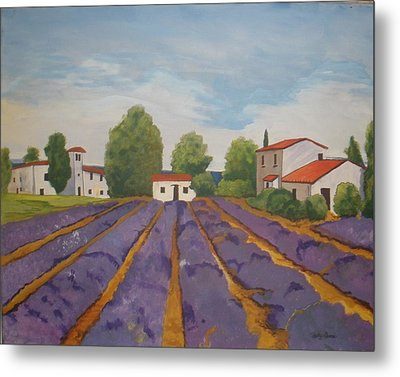 Metal Print featuring the painting Lavender Field by Betty-Anne McDonald
