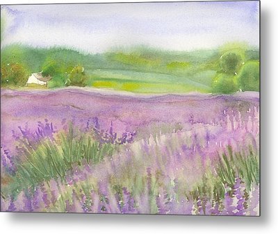 Metal Print featuring the painting Lavender Field In Italy by Yolanda Koh